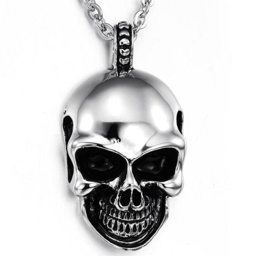 JewelryWe Gioielli Acciaio Inossidabile Collana con Pendente da Uomo, Cranio Gotico Teschio Sorridente