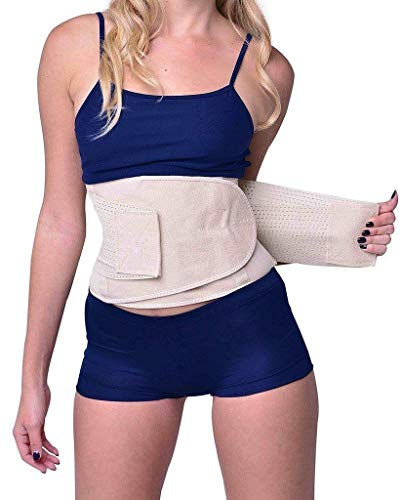 YIANNA Waist Trimmer Belt Weight Loss Wrap Stomach Fat Burner Low Waist and Back Support Adjustable Best Abdominal Trainer,YA8001-Beige-M