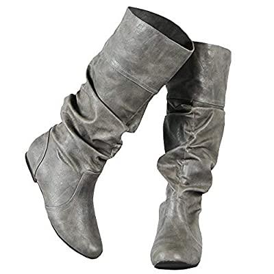 Amazon - 40% Off on Womens Slouched Boots Winter Knee High Fall Wide Calf Flat Cuff Shoes