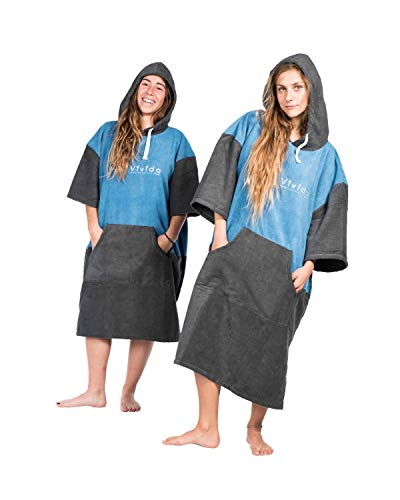 Vivida Lifestyle Poncho mit Kapuze Handtuch und Umziehilfe am Strand, beim Surfen und Schwimmen verwendbar - Tiefes Wasserblau/Anthrazit, M-L