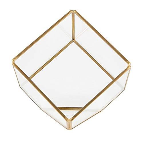 Geometric Brass Cube Glass Terrarium Plant Succulents Flower Home Decoration