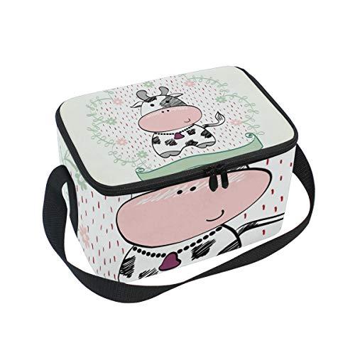 Isolierte Tasche für Mittagessen, süße Kuh-Kuh, Cartoon-Box, mit Gurt, für Schule, Büro, Picknick, Kühltasche, Herren, Damen, Erwachsene, Mädchen