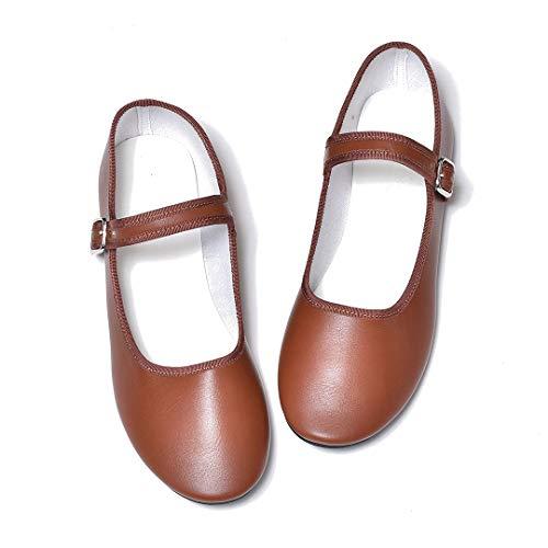 [シュベック] レディース パンプス ローファー ぺたんこ カンフーシューズ ストラップパンプスフラットパンプス 靴 ブラウン 22.5cm