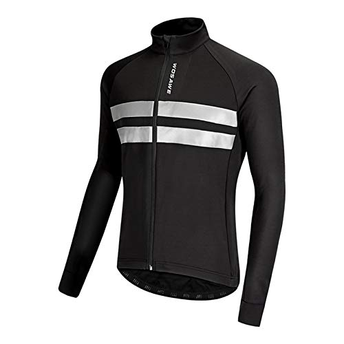 GRTE Mens Cycling Clothes Jersey Long Sleeve Cycle Top Autumn Winter Jacket Thermal Fleece Lightweight MTB Mountain Bike Racing Cold Wear,Black,XXXL