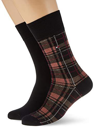 Tommy Hilfiger mens TH 2P TARTAN Socks, black combo, 43/46 (2er Pack)