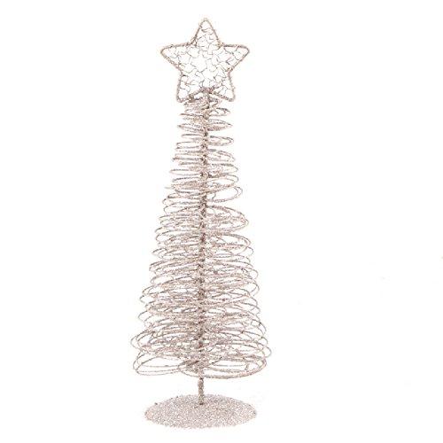 Kentop Sapin de Noël Bijoux Arbre Décoration de Fenêtre Décorés Argent en Fer de Matériau 32 * 9 cm