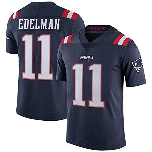 HRHT Männer Fußball T-Shirt Trikot New England Patriots 11# Julian Edelman Gesticktes Fußball-Sporttrikot Kurzarm Top T-Shirt Jersey