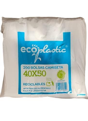 ACESA - Bolsa de Plástico Tipo Camiseta Resistentes con Asas. Reciclables y Reutilizables, Aptas para Uso Alimentario 200 unidades. (30x40, blanco)