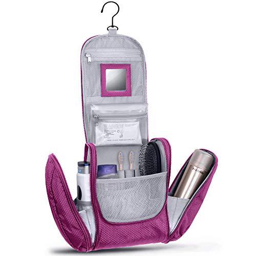 KRONIFY Beauty Case da Viaggio donna Grande con Specchio per Donna e Uomo Pochette da Bagno Lavabile Grande XXL per Cosmetici Borsa Spaziosa Donna e Uomo con Gancio (Lilla)