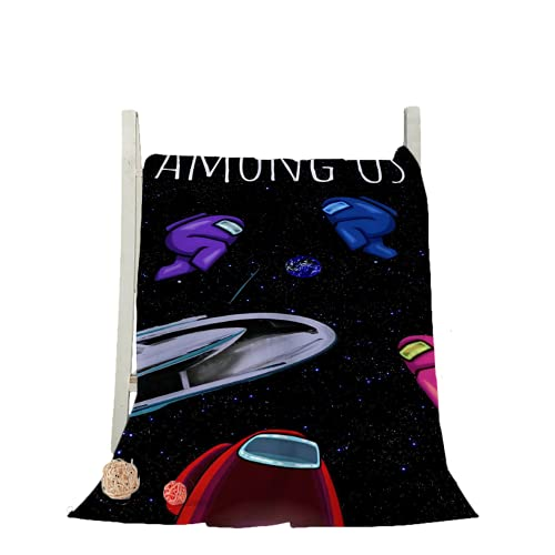 HANGYUN Among us - Toalla de playa con impresión 3D de animaciones bajo nosotros, divertida, toalla de sauna para niños, material de microfibra suave y cómodo, varios tamaños, (negro 1,100 x 200 cm)