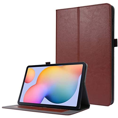 CellphoneParts BZN - Funda de piel sintética para Samsung Galaxy Tab S7 T870 2 plegables con ranuras para tarjetas y soporte (color: café)