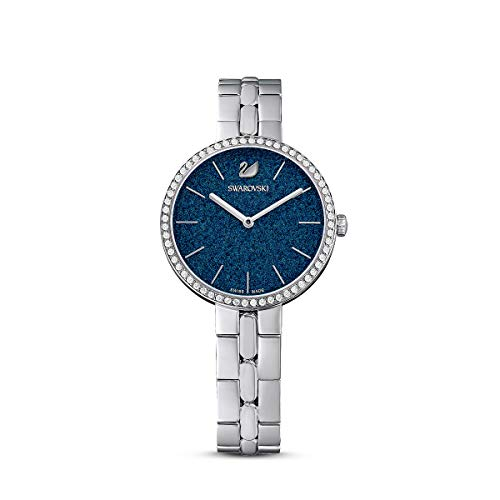 Swarovski Women's Cosmopolitan Watch, White and Blue Swarovski Crystals with Silver-Tone Stainless Steel Plating, with Metal Strap