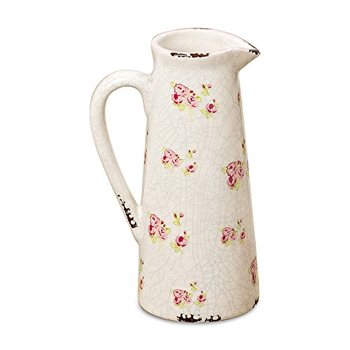 WHW Whole House Worlds Wild Sweetheart Rose Garden Pitcher, Distressed, Vintage Style, Rustic White with Pink and Green Accents Over Terracotta, 7 3/4 Inches Tall, Shabby Chintz