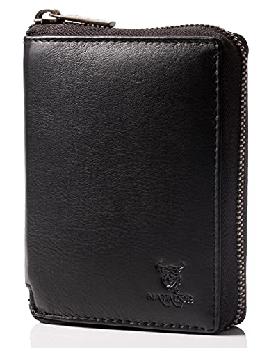 MATADOR Herren Geldbörse Echt Leder TÜV Geprüfter RFID & NFC Schutz Portemonnaie Brieftasche Schwarz