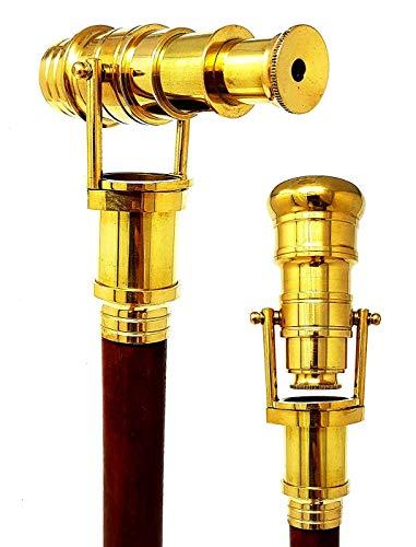 Teleskop-Gehstock für Kostüme, Holz, faltbar, Steampunk-Stil, poliertes Messing