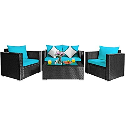 Tangkula 4 PCS Patio Rattan Conversation Furniture Set, Outdoor Wicker Sofa Set with Padded Cushion & Tempered Glass Coffee Table, Wicker Sectional Sofas and Table for Courtyard Balcony (1, Turquoise)