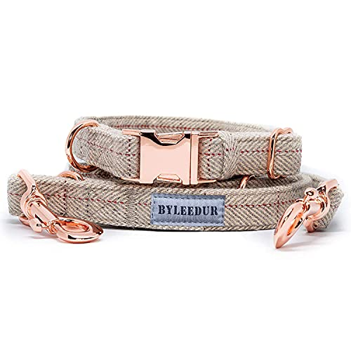 BYLEEDUR Heavy Duty Dog Collar and Leash (6.6') Set, Exceptionally Elegant with Rose Gold, 3 Adjustable Lengths & Timeless, Soft and Comfortable (L (15.7''-24''))