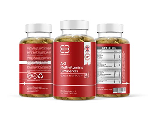 Multivitamins & Minerals, 180 Tablets - 6 Month Supply - Vegetarian Friendly - 26 Active Vitamins & Minerals - Vital Vitamins & Minerals - Supports Immune System - Made by Bare Basics UK
