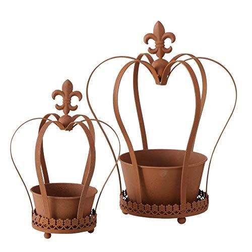 CasaJame Pflanztopf Rankhilfe 2er Set Krone mit französischer Lilie aus Eisen Rost braun H30-40cm
