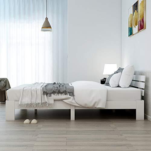 jeerbly Cama doble de madera con cabecero y somier, 200 x 140 cm, madera maciza FSC, se puede utilizar como cama de pino, incluye respaldo (color blanco)