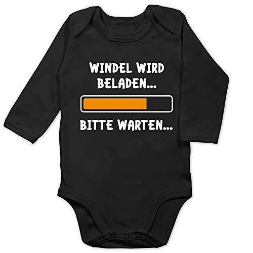 Shirtracer Sprüche Baby - Windel Wird beladen - 6/12 Monate - Schwarz - Baby Body Langarm Spruch - BZ30 - Baby Body Langarm