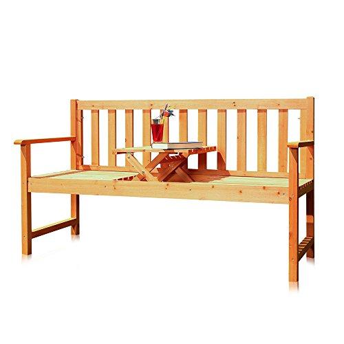 Melko Gartenbank mit integriertem Klapptisch, 152,5 x 90 x 56 cm, braun, Parkbank Sitzgarnitur Tablett Tisch