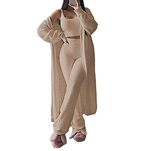 GMRZ Frauen Fuzzy Pyjamas Set, Sexy Fleece 3 Stück Outfits Trainingsanzug Soft Open Front Cardigan Und Wide Legs Pants Lounge-Sets,Apricot 3 Piece,S
