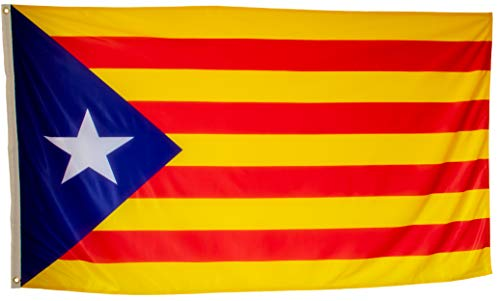 Bandera Independentista Catalana Grande Exterior de Tela Fuerte Impermeable Resistente a la Intemperie, Bandera Estelada Catalana 150x90 cm
