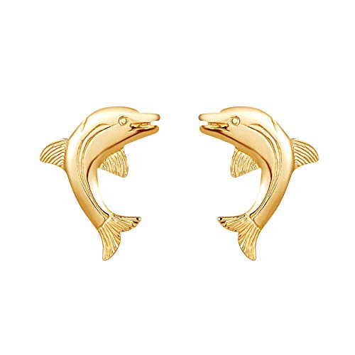9ct yellow gold large dolphin Andralok stud earrings/novelty gift box included