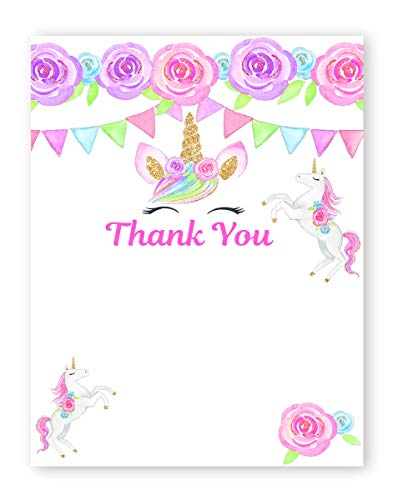 POP parties Magical Unicorn Thank You Cards - 20 Cards + 20 Envelopes - Made in The USA - Unicorn Lashes