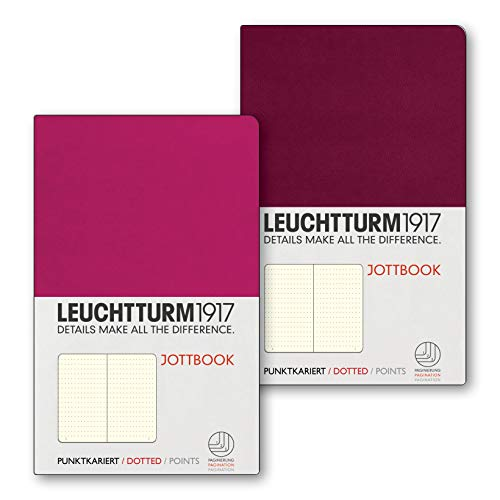 LEUCHTTURM1917 362715 Jottbook Flexcover Pocket (A6), Doppelpack, Dotted, Beere +...