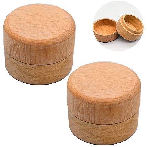 Mirrwin Wedding Wooden Ring Box Log Ring Box Wooden Ring Cushion Box Ring Box Wooden Jewellery Box 2 Stück Holzfarbe Kann für Schmuck wie Ringe Halsketten Ohrringe usw verwendet Werden
