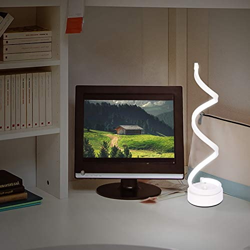 UNISOPH Lámpara de mesa LED en espiral, luz de escritorio LED curvada regulable Luz blanca cálida Luz de protección ocular LED de acrílico