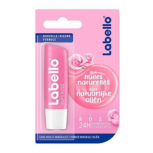 6er Pack - Labello Lipcare/Lippenpflegestift - Soft Rose - 4,8 g