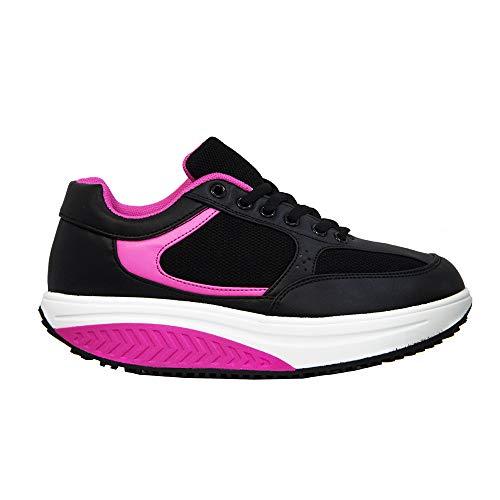 Scarpe Dimagranti Pechino Donna Rassoda Glutei Sportive Fitness Ginnastica Jogging Posturali per Camminare Comode Sneakers Sport (Nero Fuxia, Numeric_39)