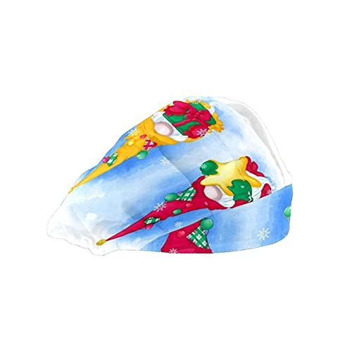 Gorra de mujer para cabello largo con banda elástica ajustable para el sudor Gorras de trabajo para hombres bufanda de cabeza impresa 3D sombreros de Navidad elfos gnomos