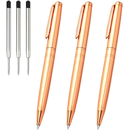 Ballpoint Pens Black Ink, Cambond Metal Pens Stainless Steel Uniform Pens for Gift Business Men Police Flight Attendant, 1.0 mm Medium Point, 3 Pens with Extra 3 Refills, Rose Gold