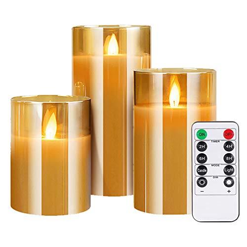 LED Kerzen im Gold Glas, Flammenlose Flackernde Kerzen, Batteriebetriebene Kerze mit Timer-Fernbedienung Realistisch LED-Flammen, für Weihnachten, Urlaub, Party, Hochzeit, 3er Set