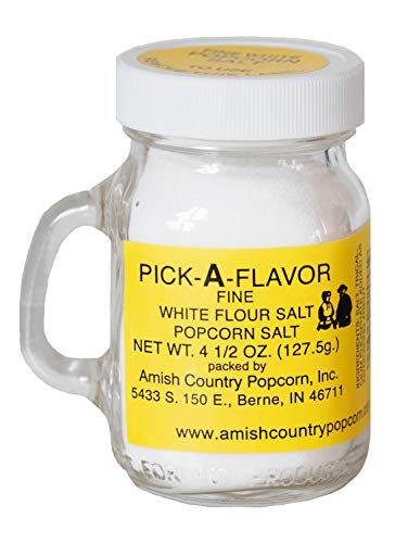 Amish Country Popcorn | Fine White Popcorn Salt - 4.5 Ounce | Old Fashioned with Recipe Guide (4.5 oz Jar)