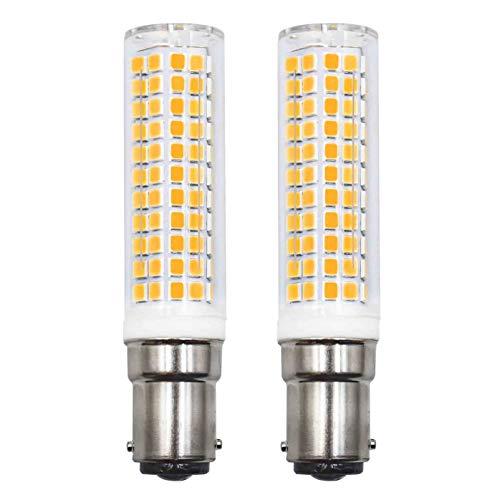 Bombilla LED B15d Equivalente a 75W 80W 90W Blanco Cálido, 220 V 230V 3000K 890lm 7W Lámpara Pared Araña para Máquina coser, pack de 2