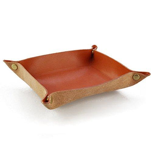日本製 卓上トレイ 最高級の皮革製 栃木レザーデスクトレー 本革 小物入れ レザートレイ (レッド)