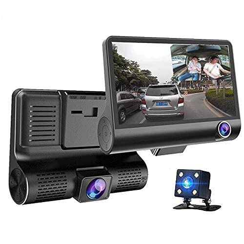 170 ° Gran Angular-cámara del coche DVR, tres registrador de la conducción de la lente, HD 1080P 4 pulgadas DVR Sprint cámara, soporte de estacionamiento de supervisión del circuito de grabación, la d