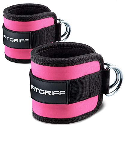 Fitgriff® Tobillera para Polea (Acolchado)- 2 Piezas Correas Tobillos Gym Cable Maquinas, Gimnasio, Fitness - Mujeres y Hombres - Pink ⭐