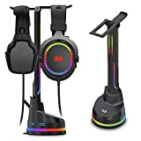Monster Dual Gaming Headset Stand with 4 USB 3.0 Ports, and RGB Changing LED Effects, for Wired or Wireless Headphones, Black (2MNGH0167B0E2)