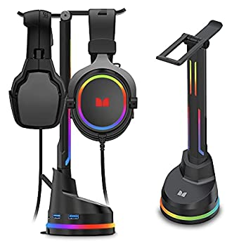 Monster Dual Gaming Headset Stand with 4 USB 3.0 Ports and RGB Changing LED Effects for Wired or Wireless Headphones Black  2MNGH0167B0E2