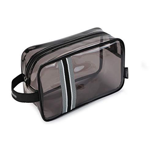 Sac à Main Multi-Fonction Grande capacité Hommes et Femmes Voyage Portable en Plastique Transparent étanche Sac de Bain Sac de Lavage (Color : Black)