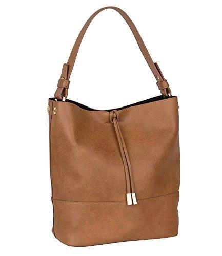 SIX Mittel große weiche braune Damen Handtasche, Schultertasche, Beutel, Gold, Separate Innentasche, Abnehmbarer Riemen, 30x27x15 cm (463-897)