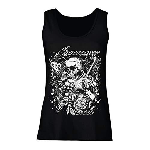 lepni.me Camisetas sin Mangas para Mujer Inocencia de la Muerte - Calavera Arte, gráfico de Heavy Metal (Medium Negro