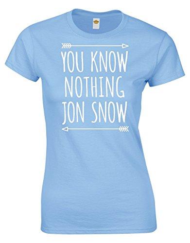 Crown Designs You Know Nothing Jon Snow Fantasie-Tv-Show Inspiriert Geschenk Für Frauen Und Jugendliche Taillierten T-Shirts Tops (Hellblau/EU - 38-40)