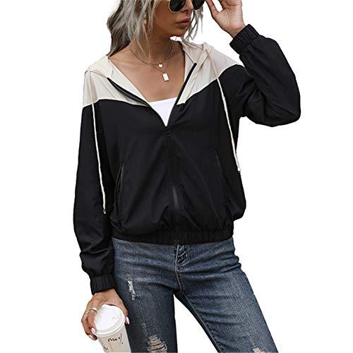 ZFQQ Chaqueta Tipo suéter Ligera Casual de Manga Larga con Capucha y Costuras Negras de Todo fósforo para Mujer Primavera